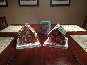 These ginger bread houses lasted a mere 24 hours before big chunks of them were in our tummies!